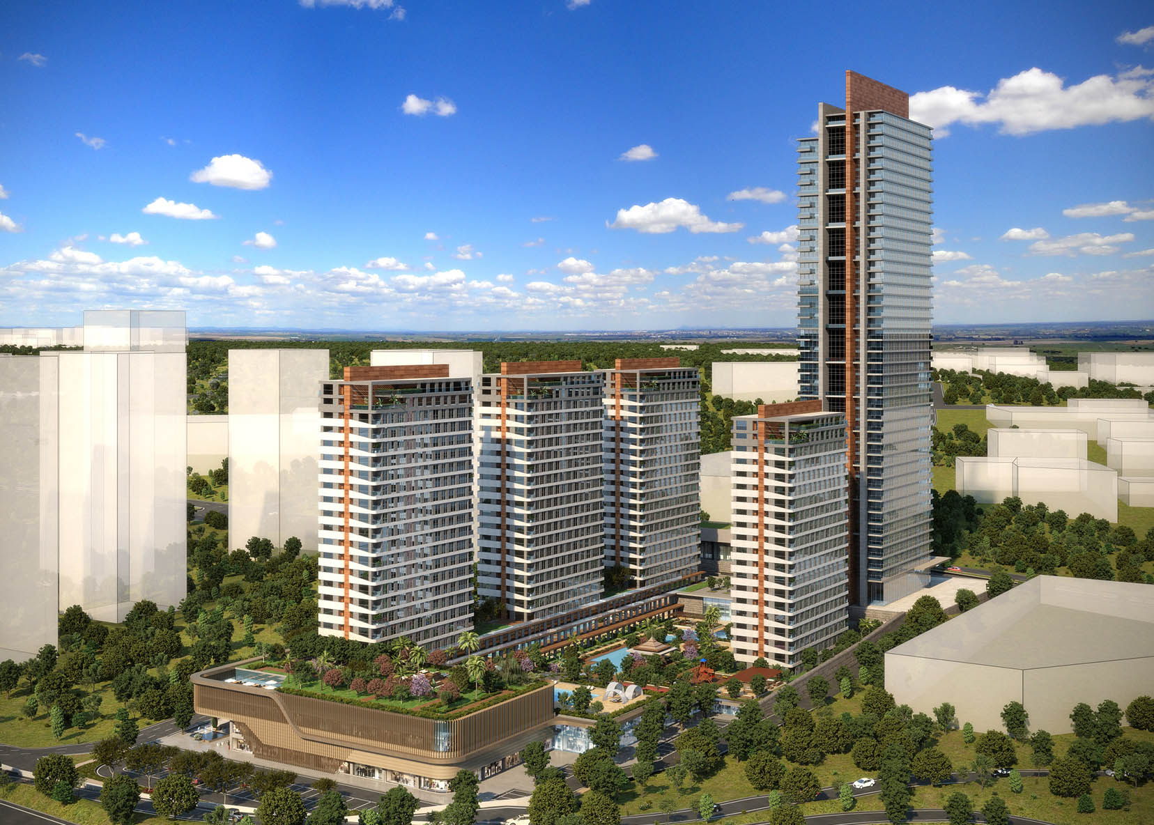 Modern residential blocks In Osman Ghazi Bursa City | TAJ-3096